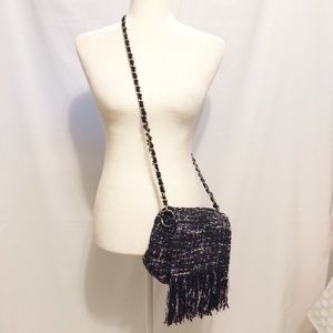 Zara Tweed Cross Body Bag with Fringe Detail